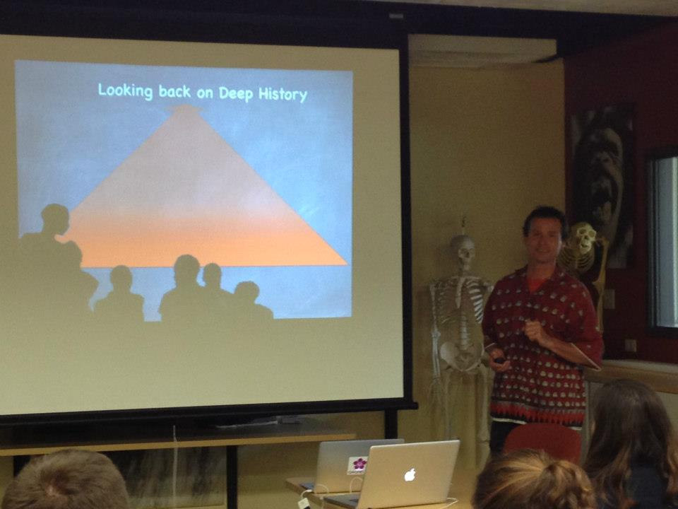 """Dr. Pascal Gagneux opened the first lecture by providing a frame work of """"Deep History"""" and the methods used by scientists to study human origins."""