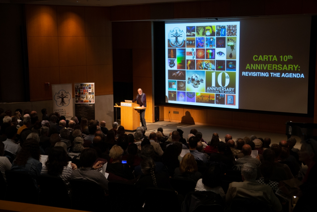Salk Institute President and CARTA Co-Director Fred (Rusty) Gage giving the Welcome at the CARTA 10th Anniversary Symposium