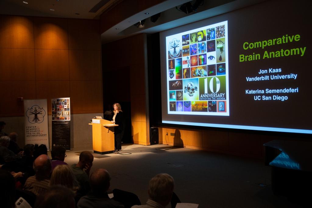 Katerina Semendeferi (UC San Diego) speaking on Comparative Brain Anatomy